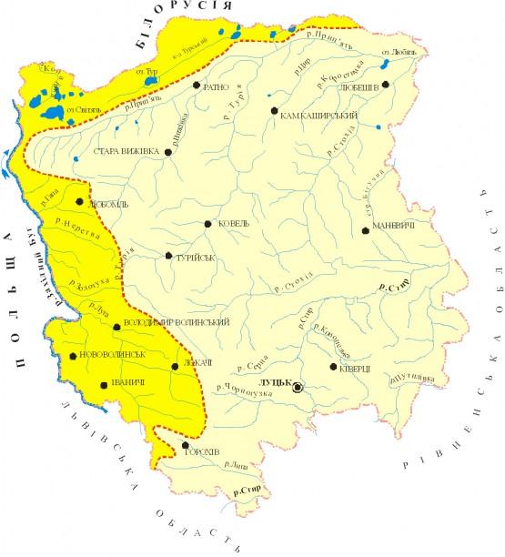 Схема басейнів річок Прип'ять та Західний Буг